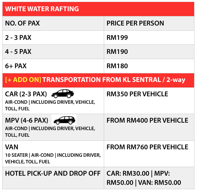 KL WHITE WATER RAFTING PRICE 2015